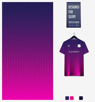 Soccer jersey pattern design. Zig Zag pattern on violet abstract background for soccer kit, football kit or sports uniform. T-shirt mockup template. Fabric pattern. Sport background.