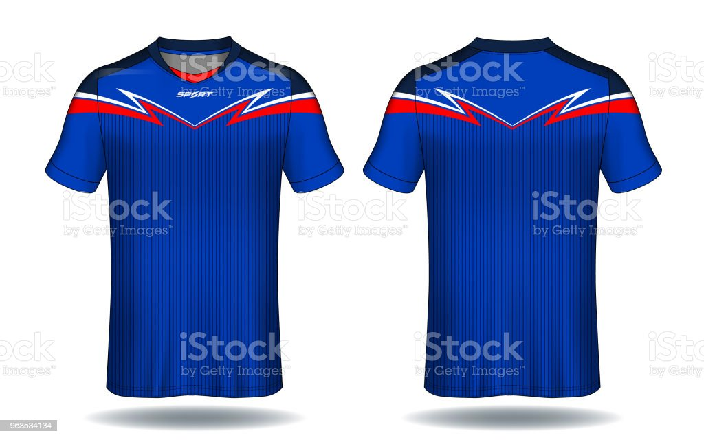 soccer jersey template blue and red layout sport tshirt design stock