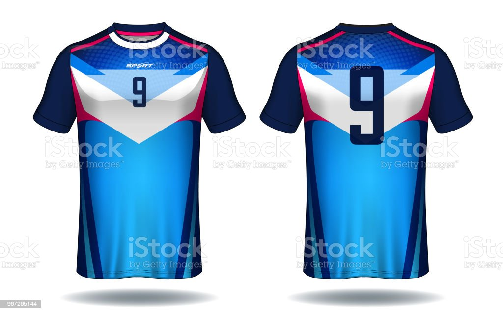 Template Stock Design Tshirt Blue Jersey Layout Soccer And Red Sport lJFK1c