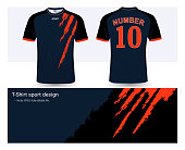 Soccer jersey template for football club or sportswear uniforms, Front and back shots available, Ready for customization logo and name, Easily to change colors and lettering styles in your team.