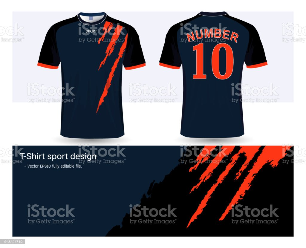 Soccer jersey template for football club or sportswear uniforms, Front and back shots available, Ready for customization logo and name, Easily to change colors and lettering styles in your team. vector art illustration