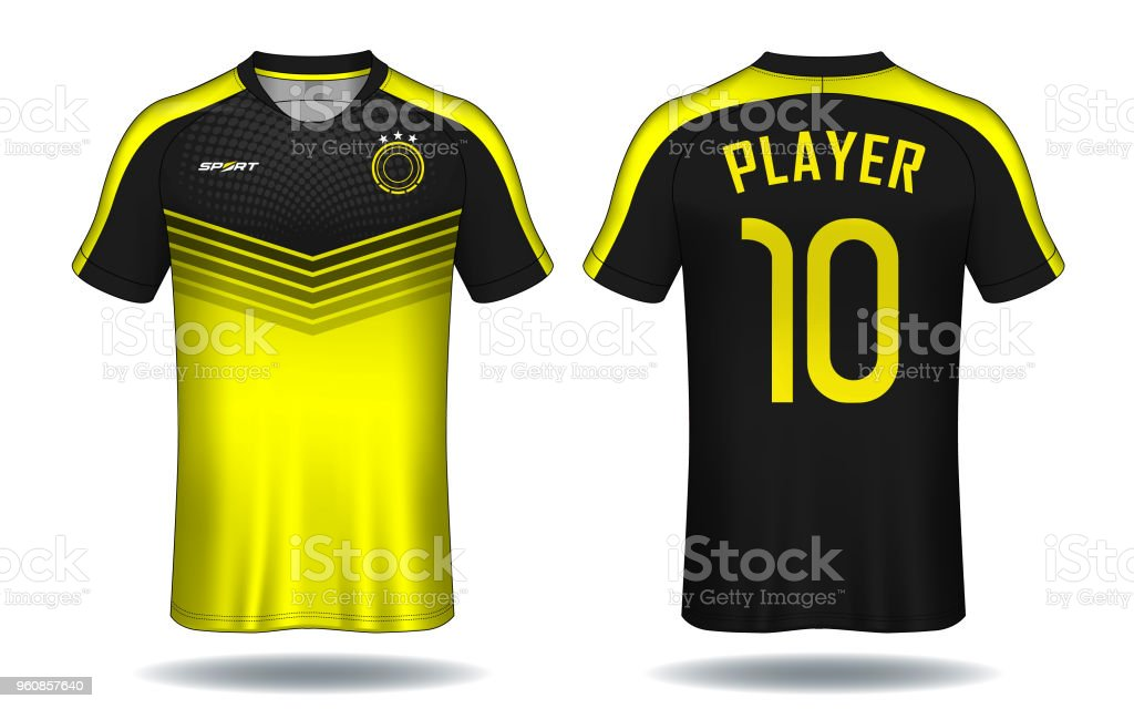 c87381841 Soccer jersey template. Yellow and black layout sport t-shirt design. -  Illustration .