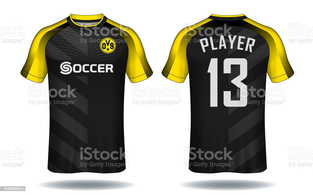fcd707747 Soccer jersey template. Yellow and black layout sport t-shirt design.  royalty-