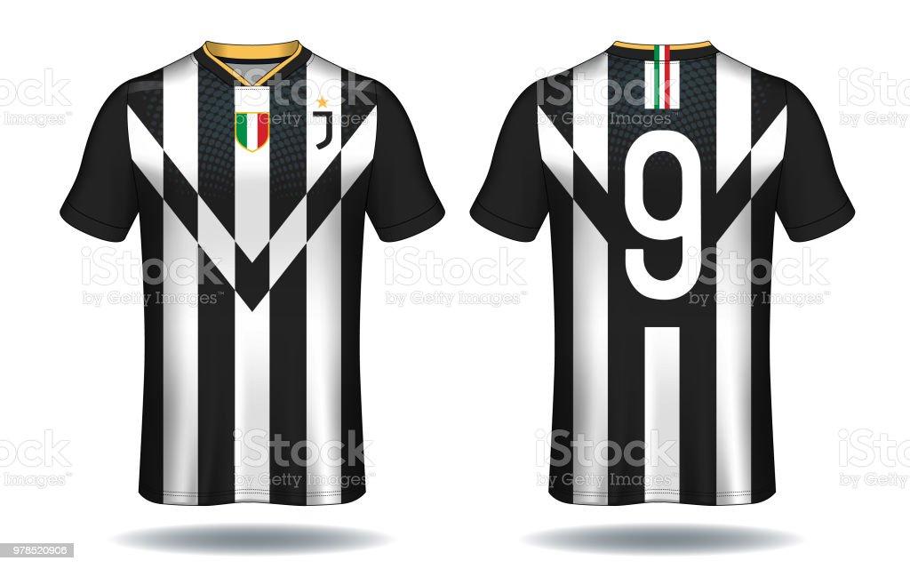 Ilustración de Plantilla De Camiseta De Fútbol Blanco Y Negro Diseño ...