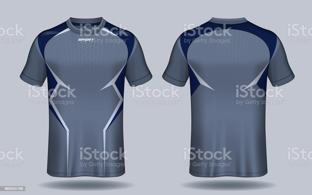 96572b6e0 Soccer jersey template.Blue and black layout sport t-shirt design. -  Illustration .