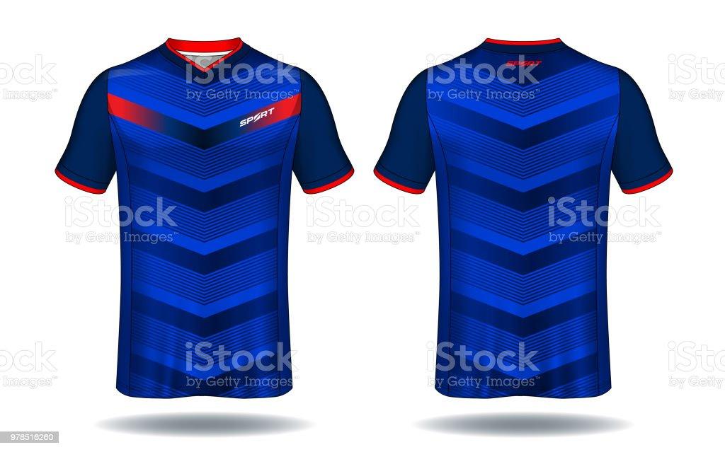 Plantilla de camiseta de fútbol. Azul y negro deporte camiseta diseño.  ilustración de plantilla 26d3c1bd94fe5