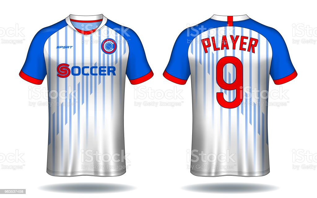 2c0c0a9f0 Soccer jersey template.Blue and white layout sport t-shirt design. royalty-