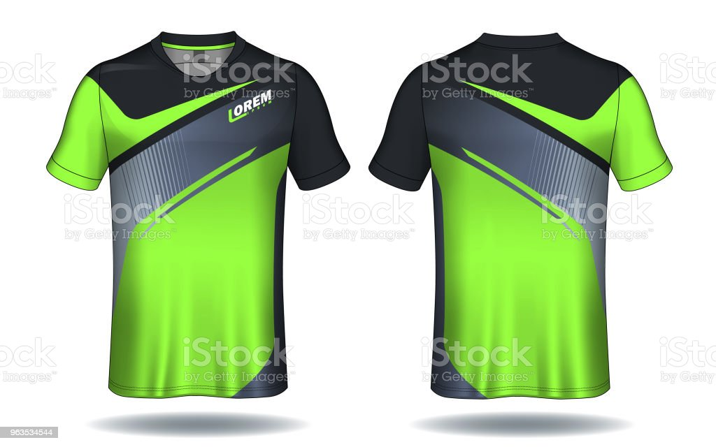 16abc2411 Soccer jersey template.Green and black layout sport t-shirt design. royalty-