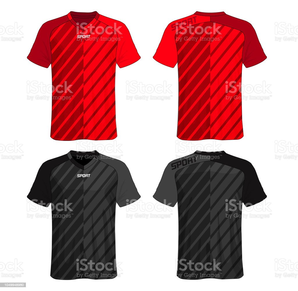 Soccer Jersey Templatered And Black Layout Sport Tshirt Design Stock Illustration Download Image Now Istock