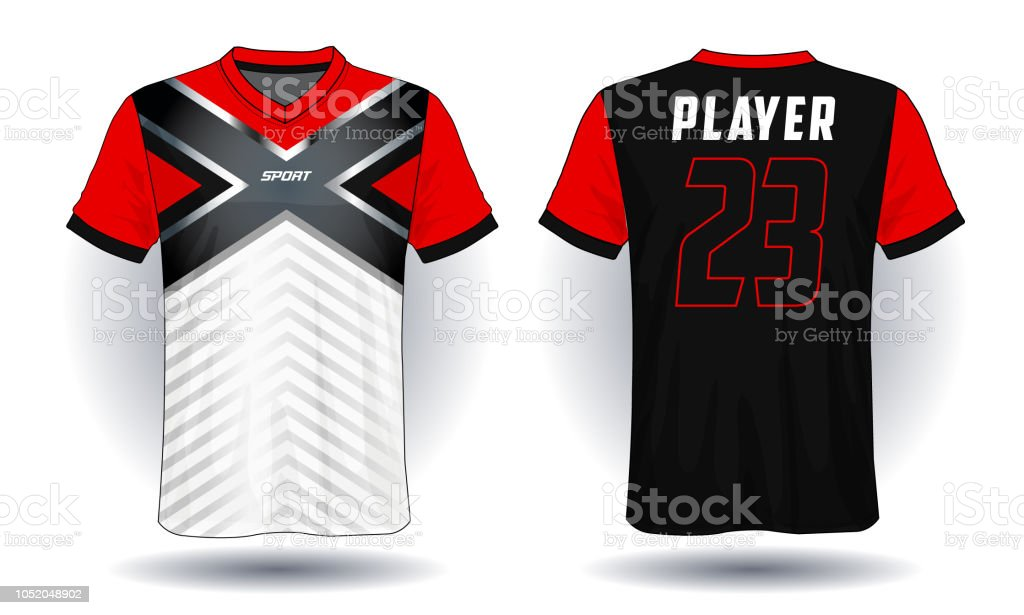 4553baa90 Soccer jersey template.Red and black layout sport t-shirt design. royalty-