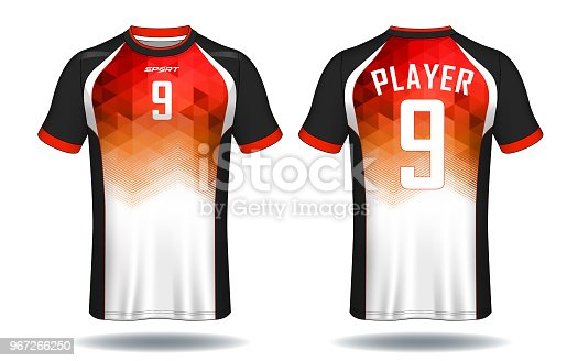 283e3e4ab Soccer jersey template.Red and black layout sport t-shirt design.