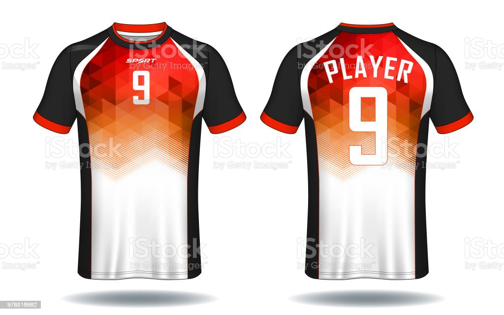 Soccer jersey template.Red and black layout sport t-shirt design. -  Illustration . 16652c359bbaa