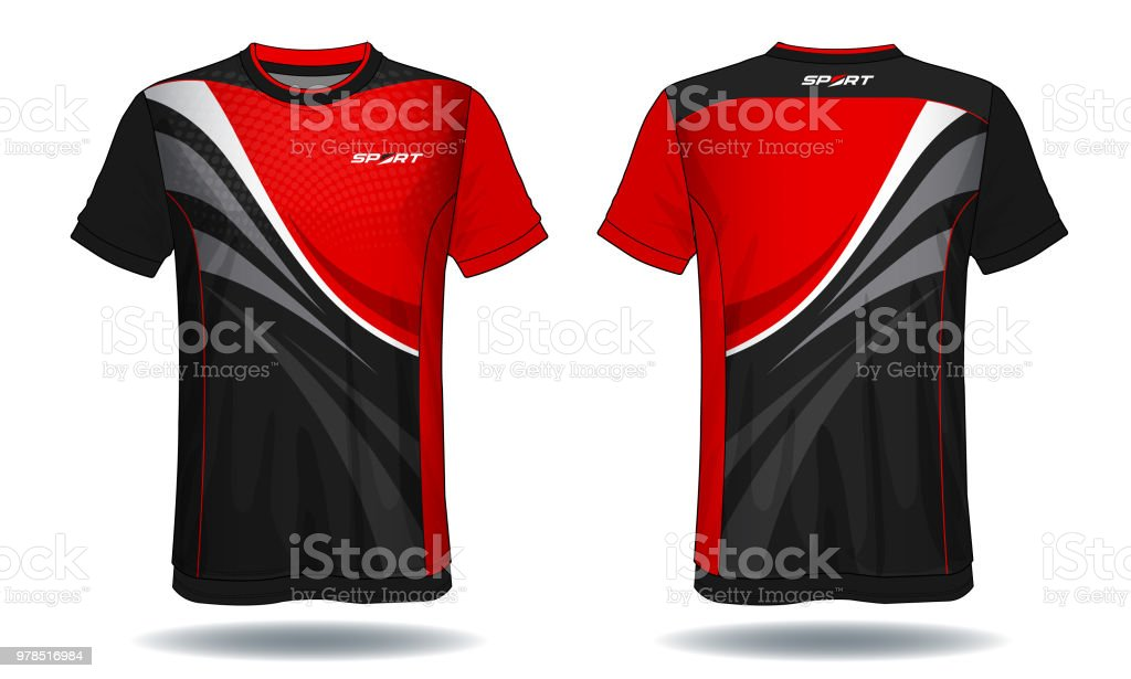 484825b55 Soccer jersey template.Red and black layout sport t-shirt design. -  Illustration .
