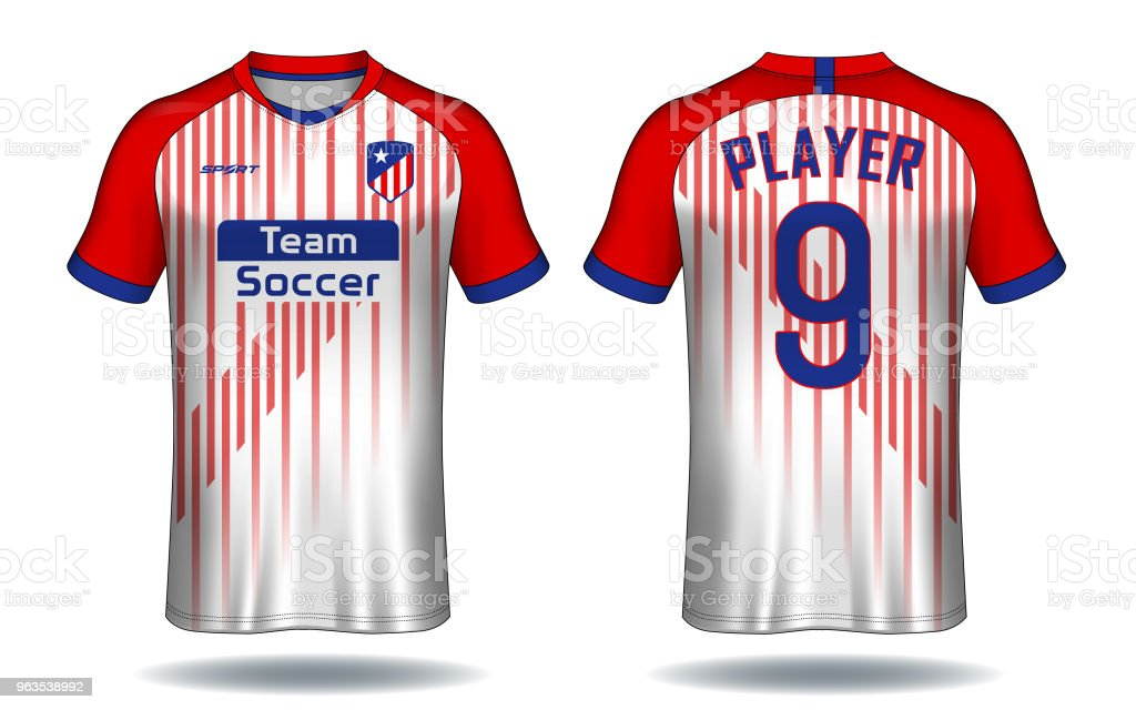 6f1779551502 Soccer jersey template.Red and white layout sport t-shirt design. royalty-