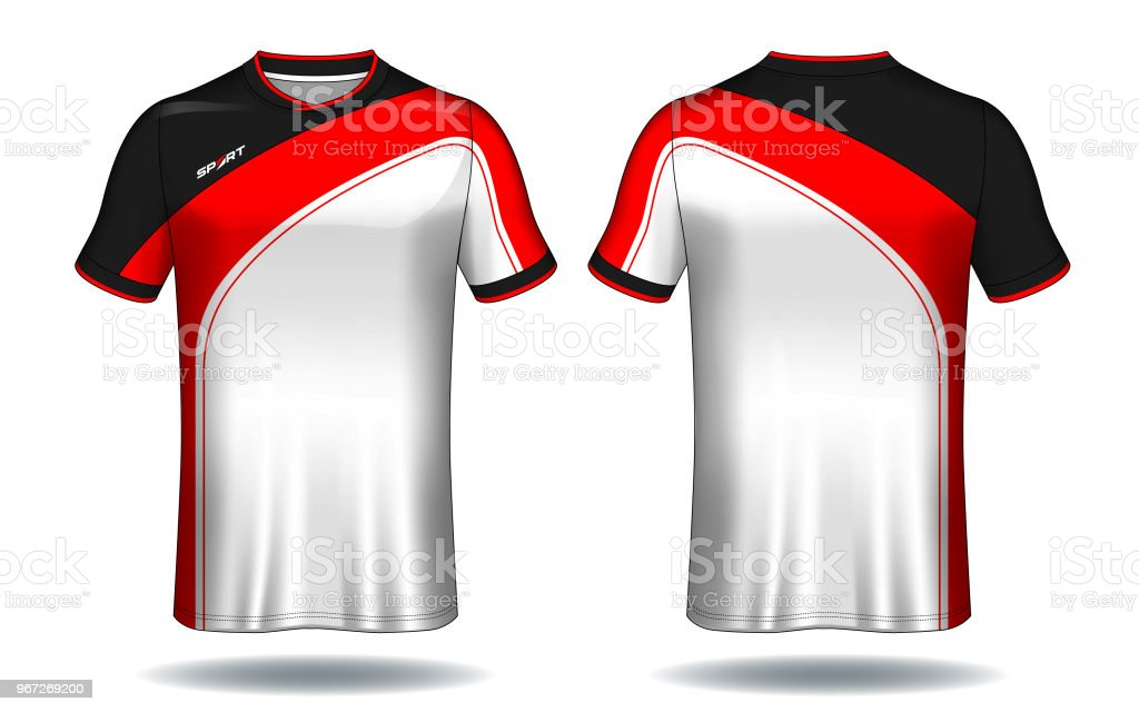 0753d2c83 Soccer jersey template.Red and white layout sport t-shirt design. royalty-