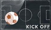 soccer kick off illustration on chalk board