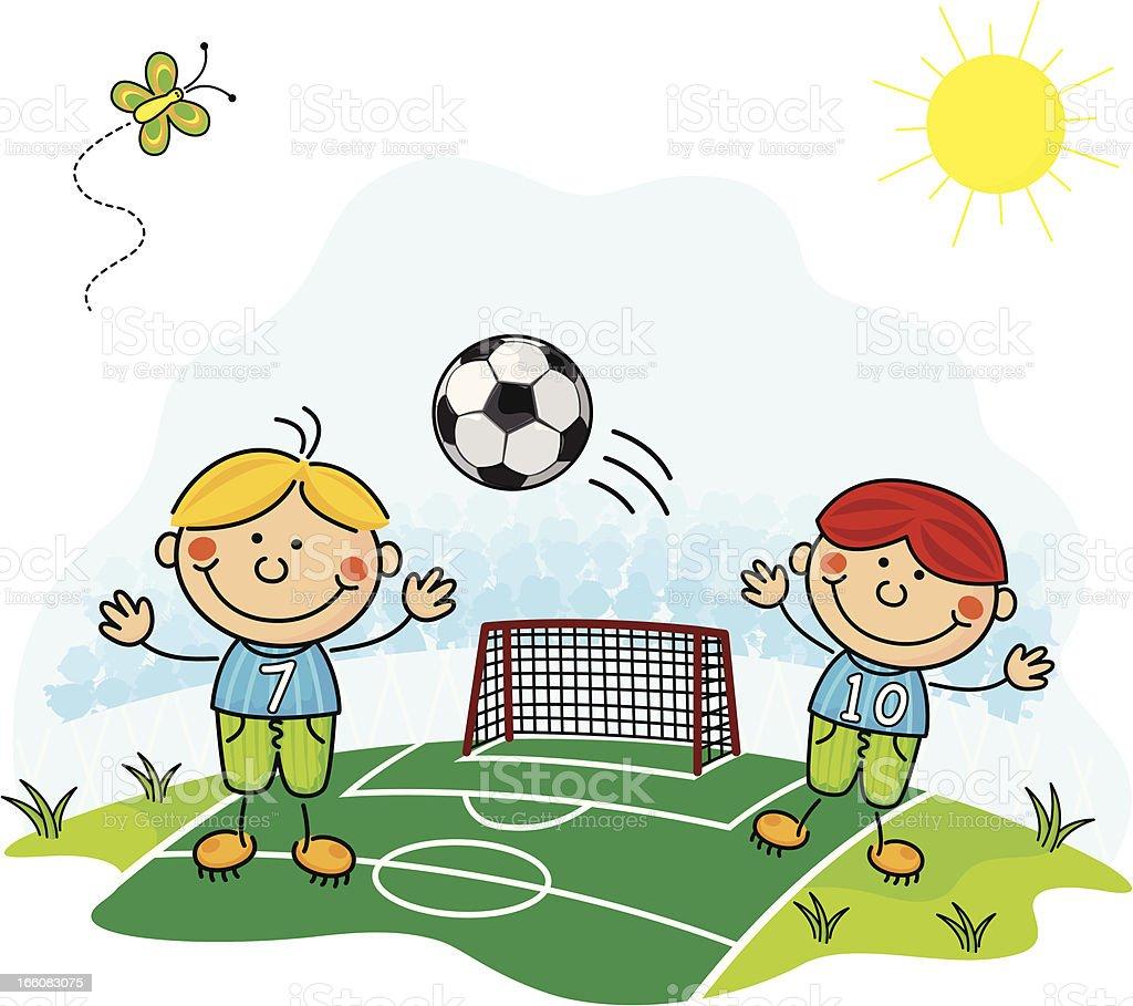 bambini che giocano a calcio immagini vettoriali stock e On disegni di bambini che giocano
