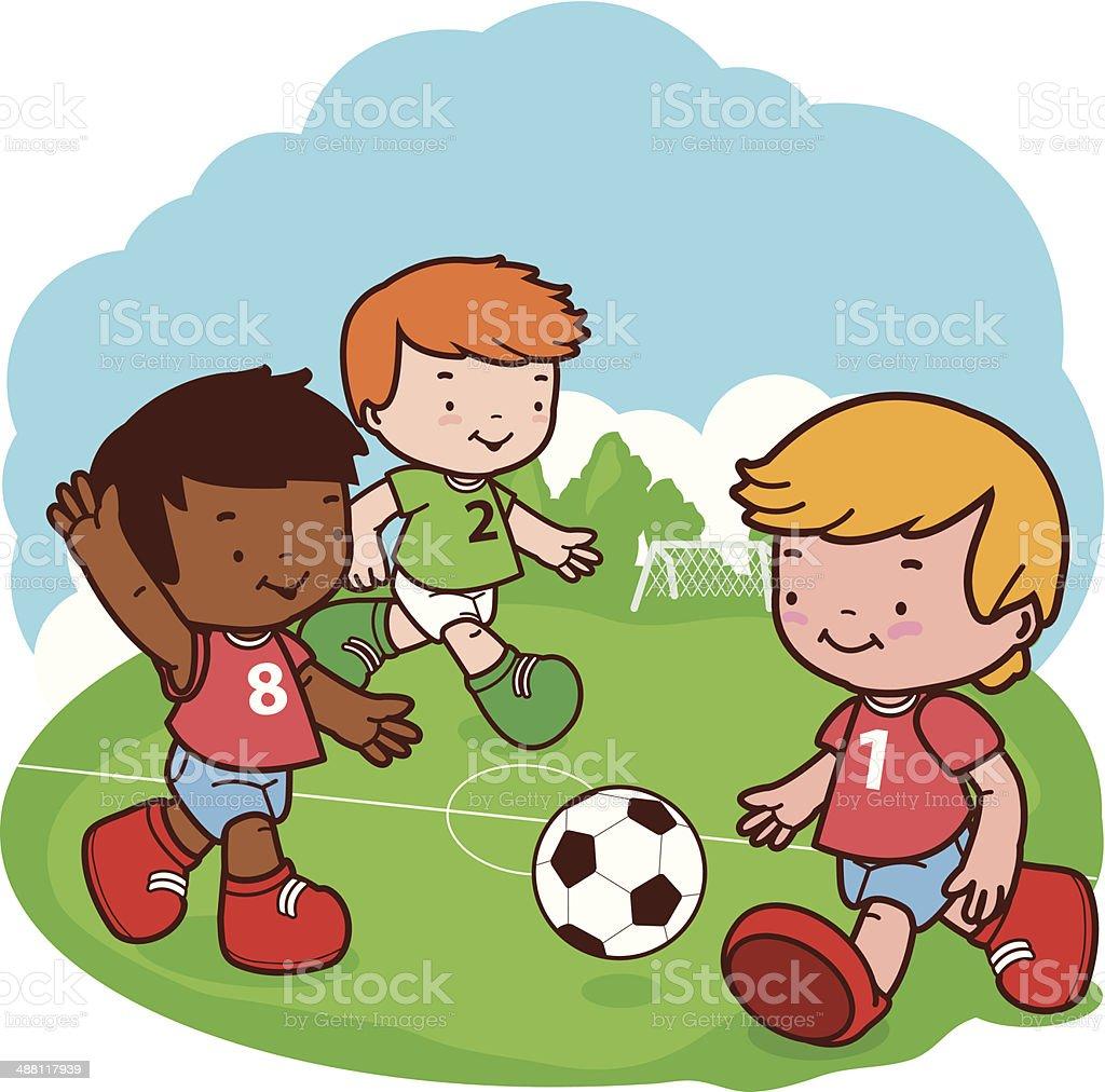 Fussball Spielende Kinder Stock Vektor Art Und Mehr Bilder
