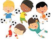 Cartoon soccer kids