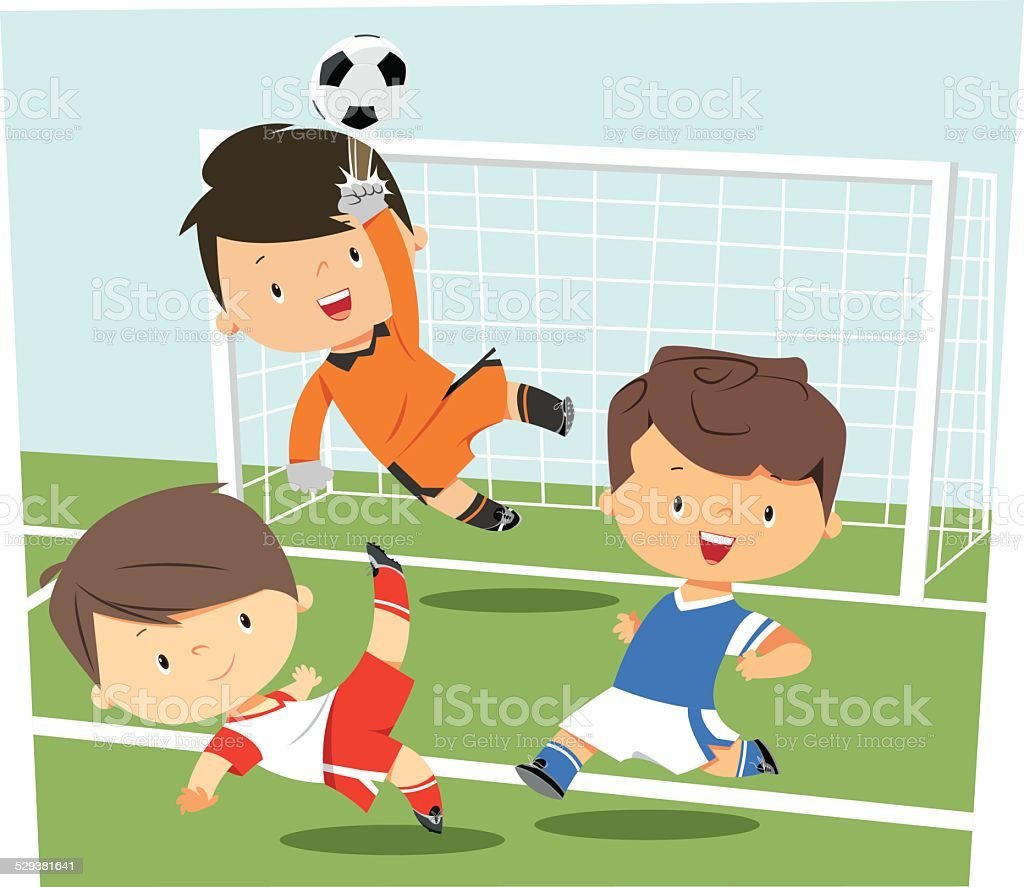 Soccer Kids vector art illustration