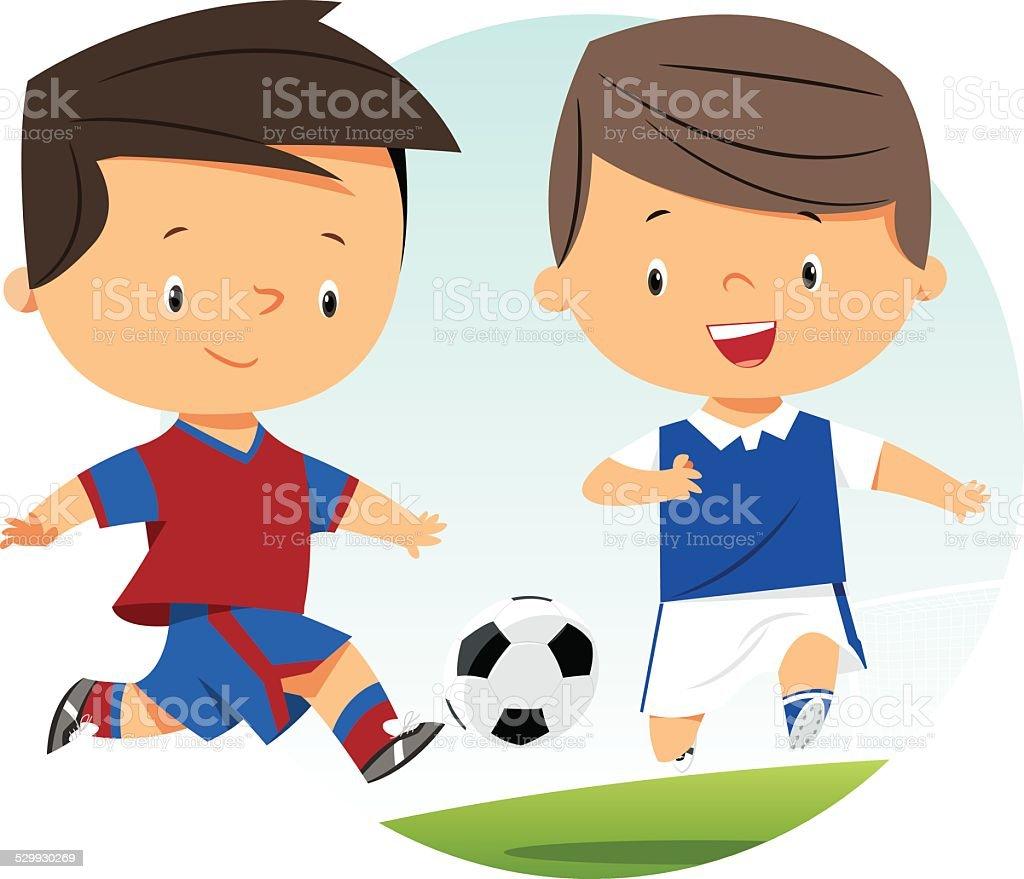 Soccer Kids vector art illustration