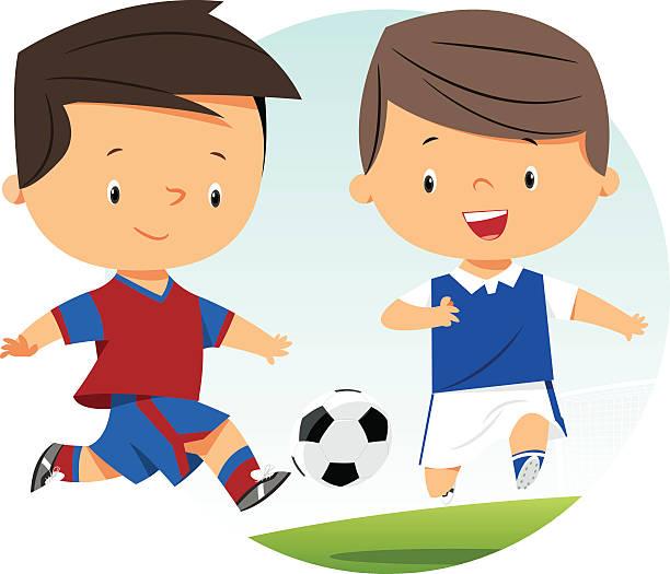 Niños jugando al fútbol - ilustración de arte vectorial
