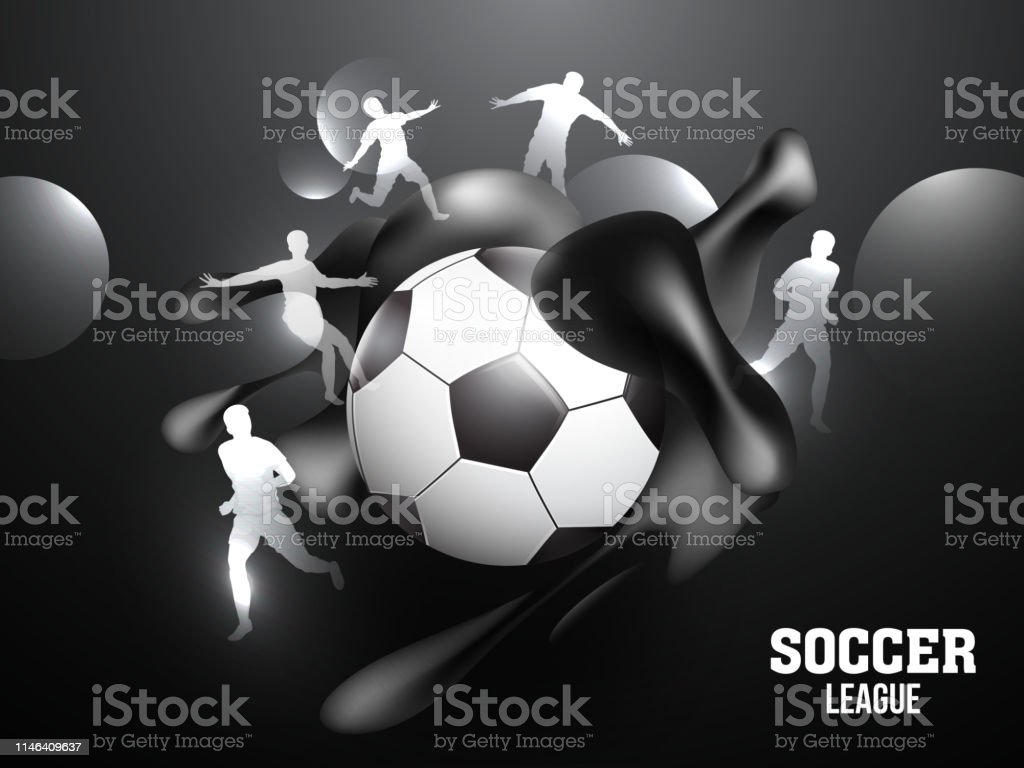 Soccer League banner or poster design with soccer ball and silhouette...