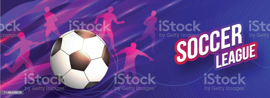 Soccer League header or banner design with soccer ball and silhouette...