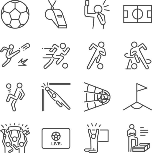 Conjunto de ícones do futebol linha. Incluídos os ícones como futebol, bola, jogador, jogo, árbitro, torcida e muito mais. - ilustração de arte em vetor