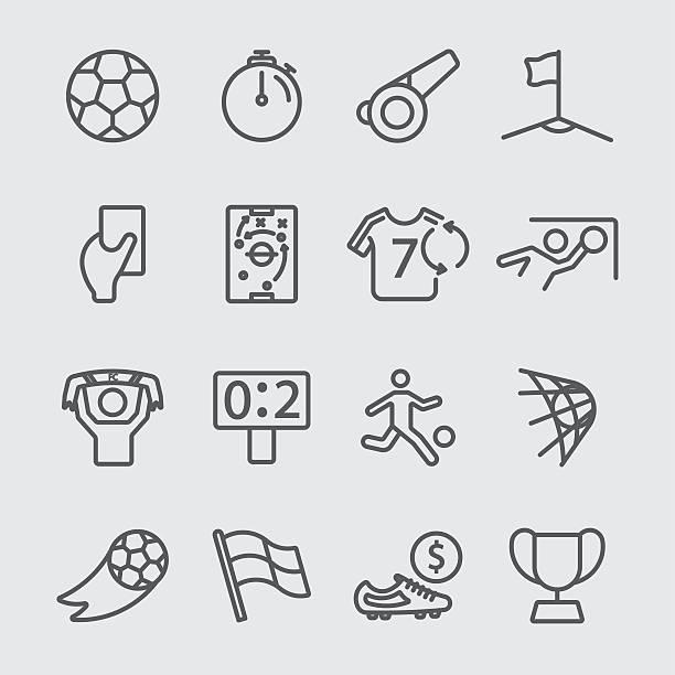 fußball-linie-icon - geldstrafe stock-grafiken, -clipart, -cartoons und -symbole