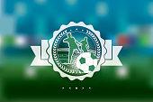 white soccer line symbol on blurred background