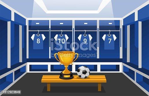 istock Soccer locker room with thropy and ball. wining sport team club scene concept in cartoon illustration vector 1312923849