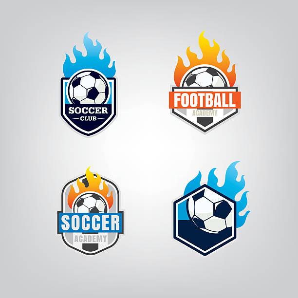 bildbanksillustrationer, clip art samt tecknat material och ikoner med soccer logo design set,vector illustration - fotboll eld