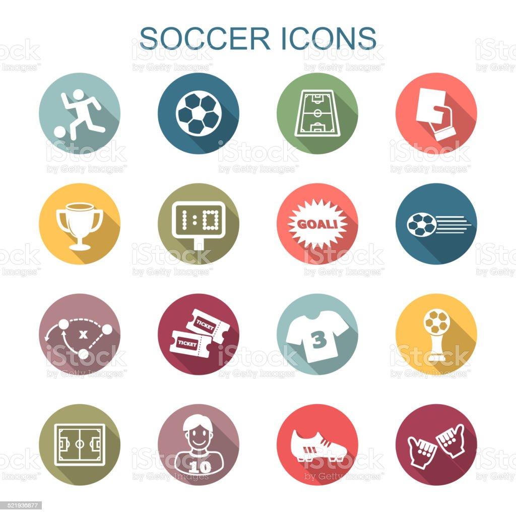 soccer long shadow icons vector art illustration