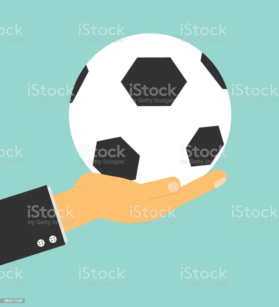soccer manager hand holding football on background, Vector Illustration - Royalty-free Adult stock vector