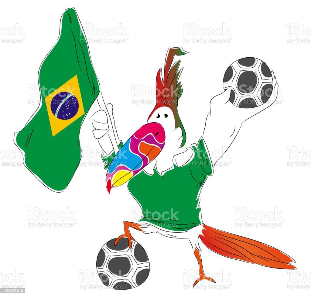 Brezilya futbol maskotu. vektör sanat illüstrasyonu
