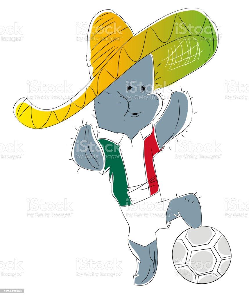 Meksika futbol maskotu. vektör sanat illüstrasyonu