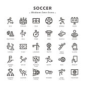 Soccer - Medium Line Icons - Vector EPS 10 File, Pixel Perfect 30 Icons.
