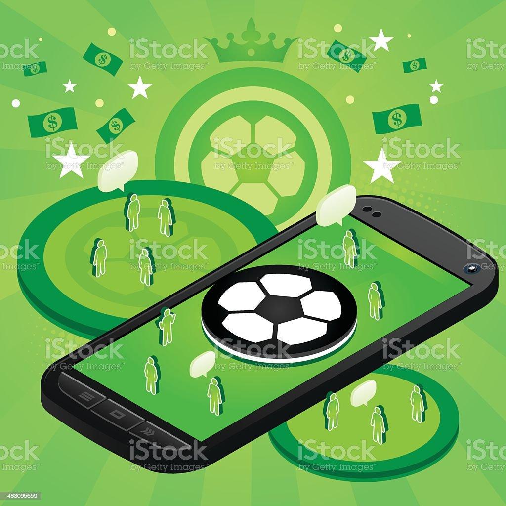 Futebol telefone celular - ilustração de arte em vetor