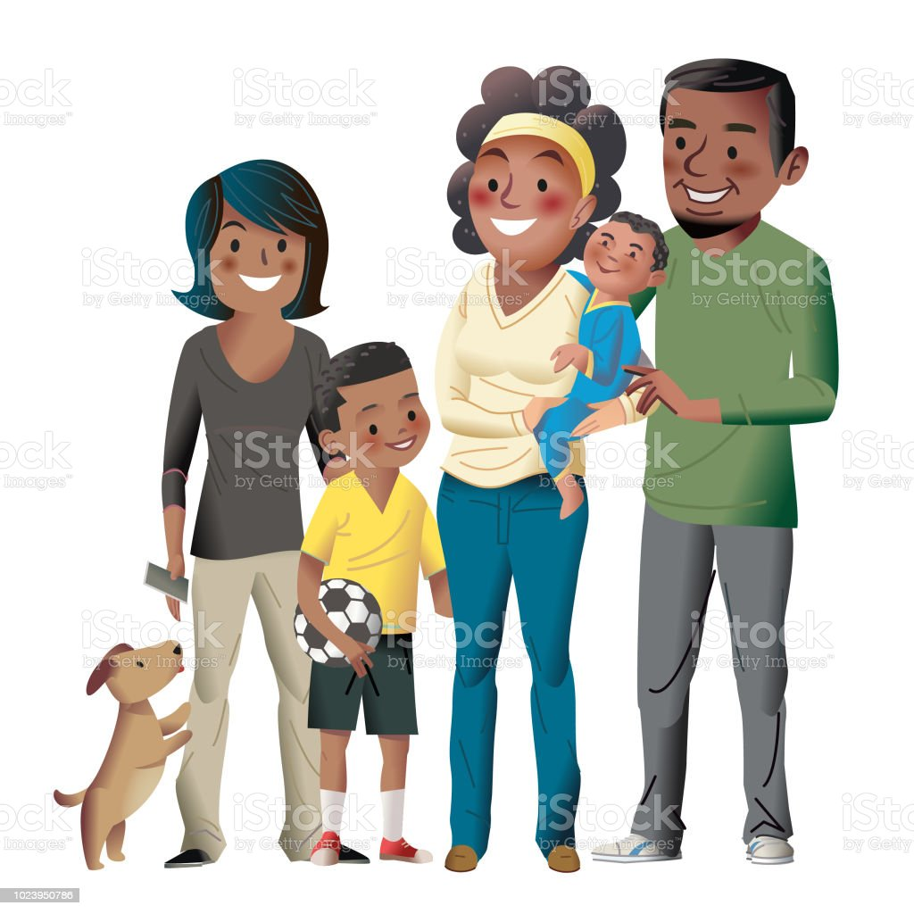 Soccer mom and family vector art illustration
