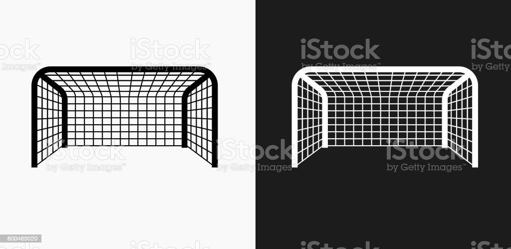 Fussballnetikone Auf Schwarzweissvektorhintergrunde Stock