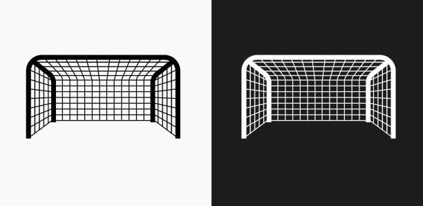 stockillustraties, clipart, cartoons en iconen met voetbal netto pictogram op zwart-wit vector achtergronden - soccer goal