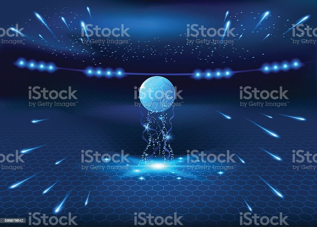 Soccer night stadium - abstract vector background, blue glow...