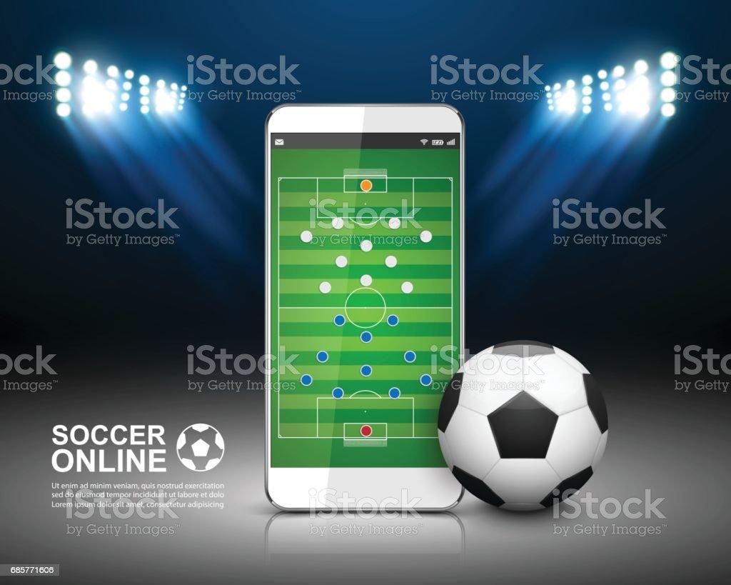 Fußball Online-Konzept, Fußballplatz auf dem Smartphone. – Vektorgrafik