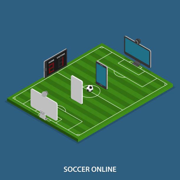Soccer Online Vector Isometric Concept Art Illustration