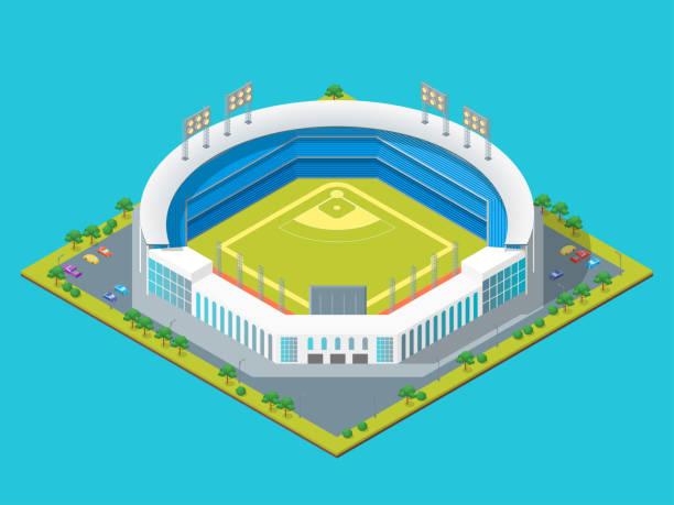 soccer or baseball park or stadium concept 3d isometric view. vector - baseball stadium stock illustrations, clip art, cartoons, & icons