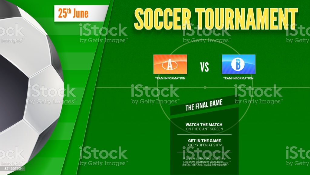 Soccer or european football tournament poster. Horizontal mock-up of banner for football competition or sport events with ball and football field, top view. 3D illustration, template for print design vector art illustration