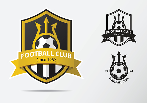 Soccer or Football Badge icon Design for football team. Minimal design of golden fork and golden ribbon. Football club icon in black and white icon. Vector.