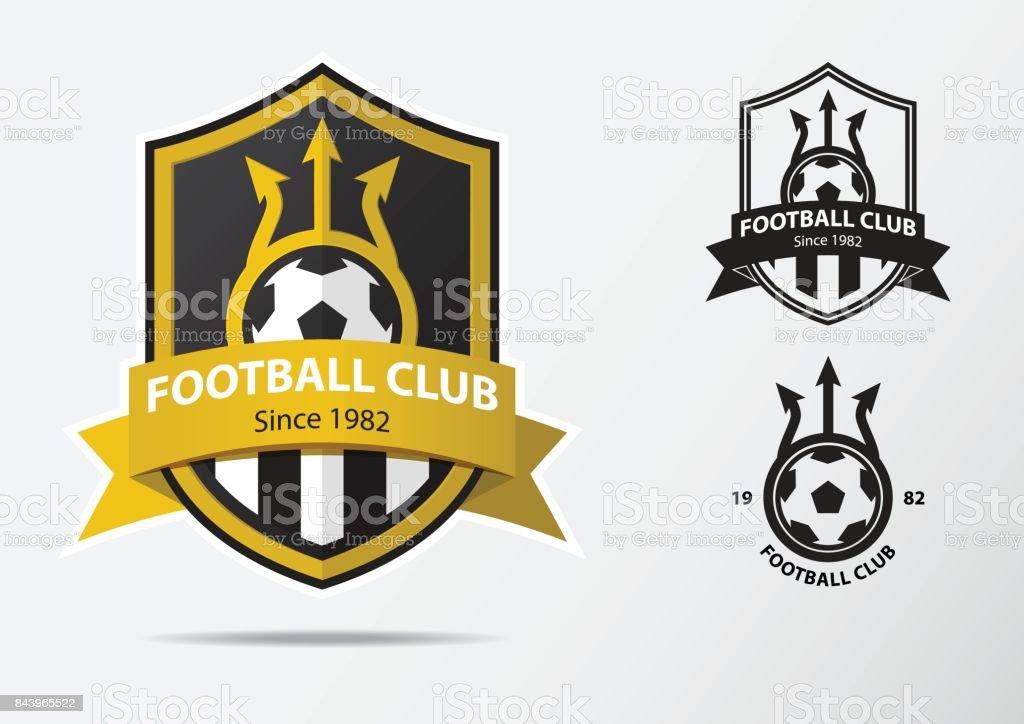 Soccer ou Football Badge icône Design pour l'équipe de football. Design minimaliste de fourche dorée et ruban doré. Icône du football club en icône noir et blanc. Vector. - Illustration vectorielle