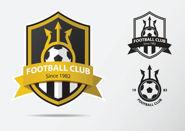 Soccer or Football Badge icon Design for football team. Minimal design of golden fork and golden ribbon. Football club icon in black and white icon. Vector. vector art illustration